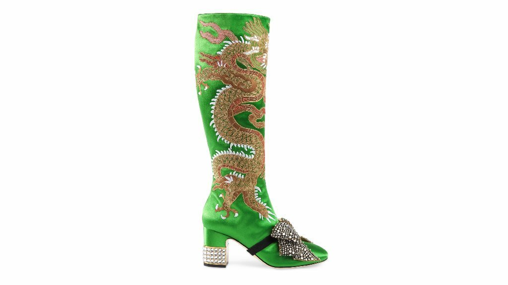Gucci's dragon satin mid-heel knee boot.