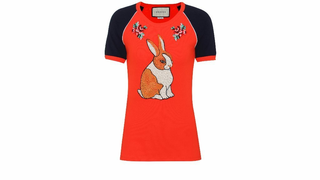 Gucci's red ribbed cotton jersey rabbit T-shirt.