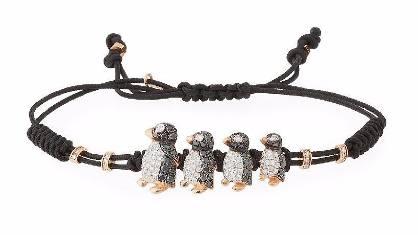 Pippo Perez's pull-cord bracelet with black-and-white diamond penguins in 18-karat gold.
