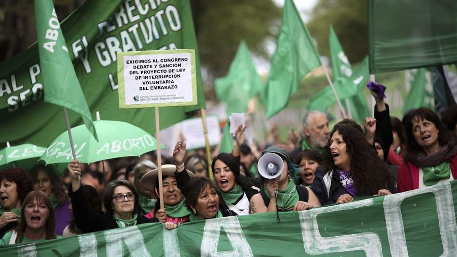 Protest for legal abortion in Buenos Aires, Argentina