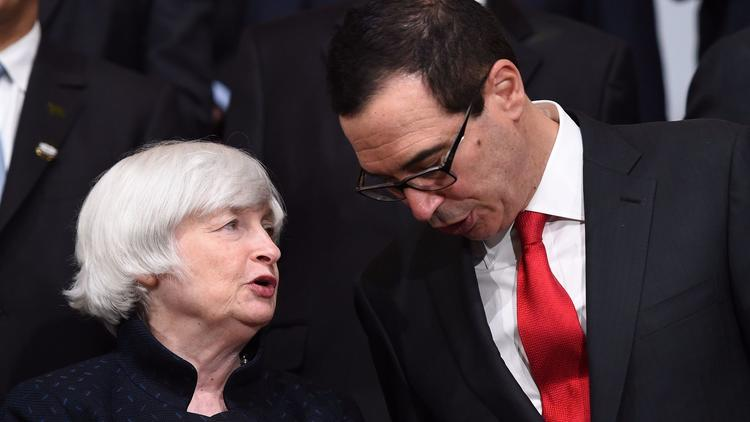 Federal Reserve Chairwoman Janet L. Yellen and Treasury Secretary Steven T. Mnuchin. (Andrew Caballero-Reynolds / AFP/Getty Images)