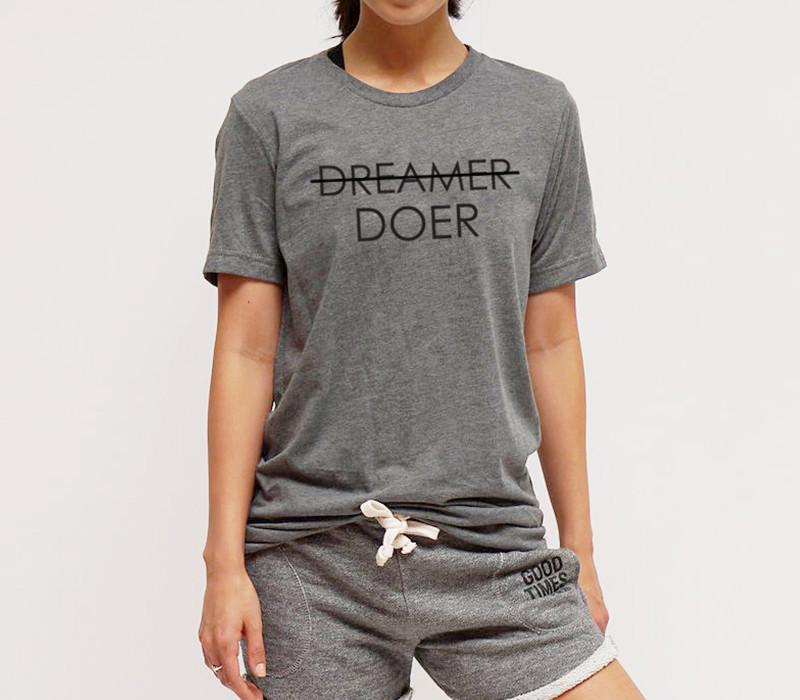 Insprational activewear: For Better Not Worse (DREAMER DOER T-Shirt, $44)
