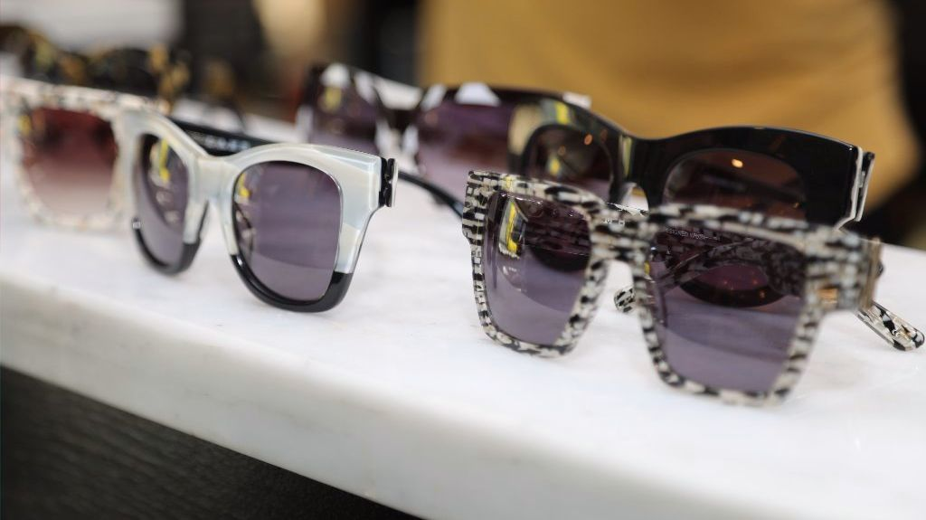 A display of sunglasses during a preview of the latest styles in Gwen Stefani's two eyewear collections, L.A.M.B. and GX by Gwen Stefani.