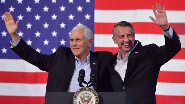 Vice President Mike Pence campaigns in Abingdon, Va., with Republican gubernatorial nominee Ed Gillespie. (Andre Teague / Associated Press)