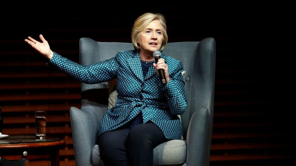 Hillary Clinton speaks in Cemex Auditorium at Stanford University, in Stanford, Calif., Friday, Oct. 6, 2017. The event marked the opening of the Center on Democracy, Development and the Rule of Law's Global Digital Policy Incubator.