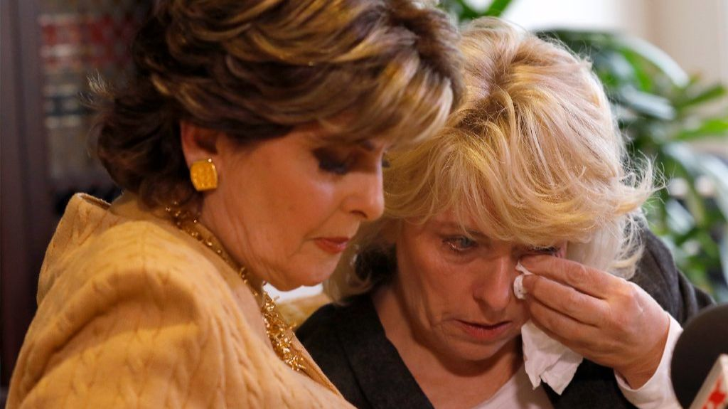 Heather Kerr, right, with attorney Gloria Allred.