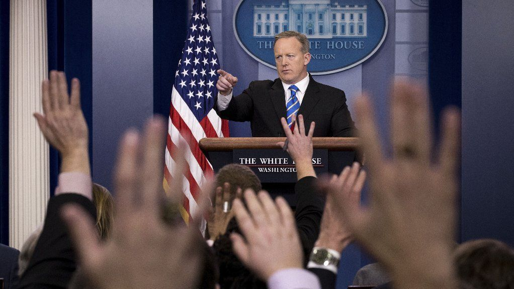 White House Press Secretary Sean Spicer takes questions during the daily press briefing in the James Brady Press Briefing Room at the White House, January 24, 2017 in Washington, DC.