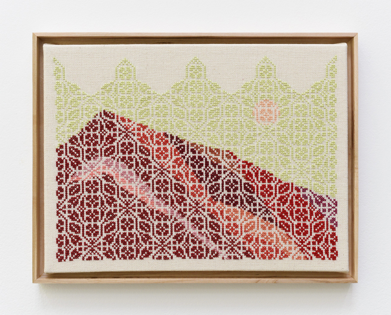 "Jordan Nassar's ""Jerusalem of Glass!"" 2017. Hand-embroidered cotton on cotton on canvas, 12 inches by 16 inches."