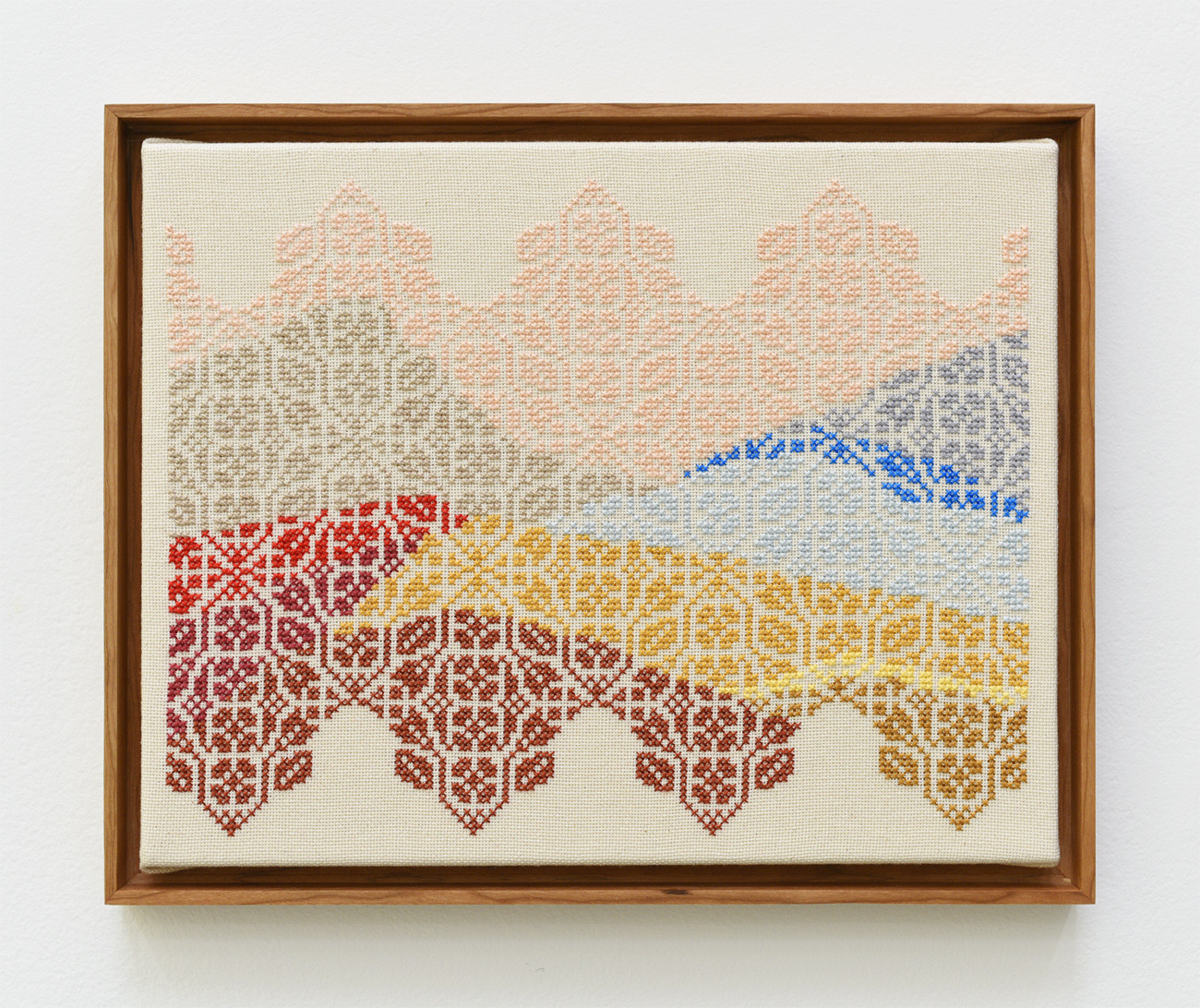 "Jordan Nassar's ""And the Sea Drowning the Sea,"" 2017. Hand-embroidered cotton on cotton on canvas 11 inches by 14 inches."