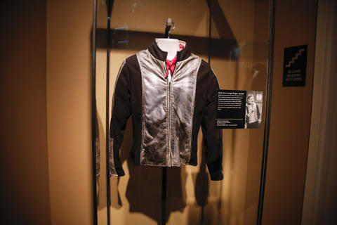 "Nick the Lounge Singer's jacket, worn by Bill Murray, on display as part of the ""Saturday Night Live: The Experience"" exhibit at the Museum of Broadcast Communications in Chicago on Oct. 20, 2017."