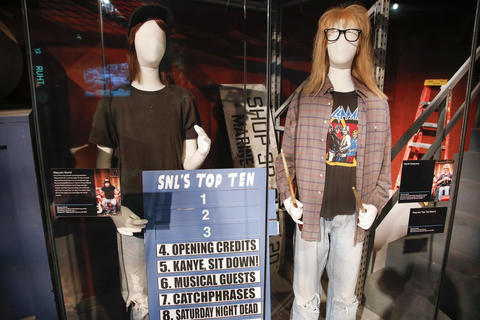 "Wayne's World costumes worn by Mike Myers and Dana Carvey are on display as part of the ""Saturday Night Live: The Experience"" exhibit at the Museum of Broadcast Communications in Chicago on Oct. 20, 2017."