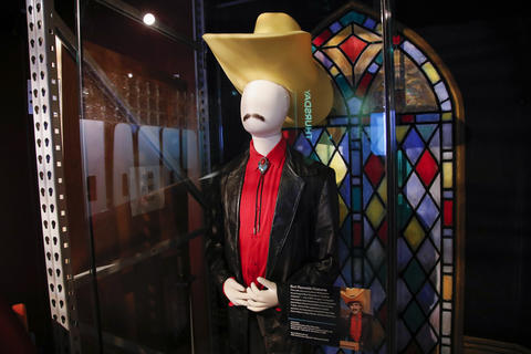 "Burt Reynolds' costume, worn by Norm Macdonald, is on display as part of the ""Saturday Night Live: The Experience"" exhibit at the Museum of Broadcast Communications in Chicago on Oct. 20, 2017."
