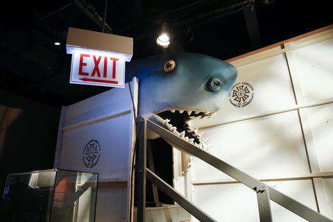 "The Land Shark costume is part of the ""Saturday Night Live: The Experience"" exhibit, at the Museum of Broadcast Communications in Chicago on Oct. 20, 2017."