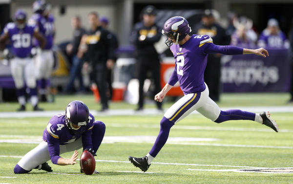 Minnesota Vikings kicker Kai Forbath kicks a 52-yard field goal during the first half against the Baltimore Ravens. (Jim Mone / Associated Press)