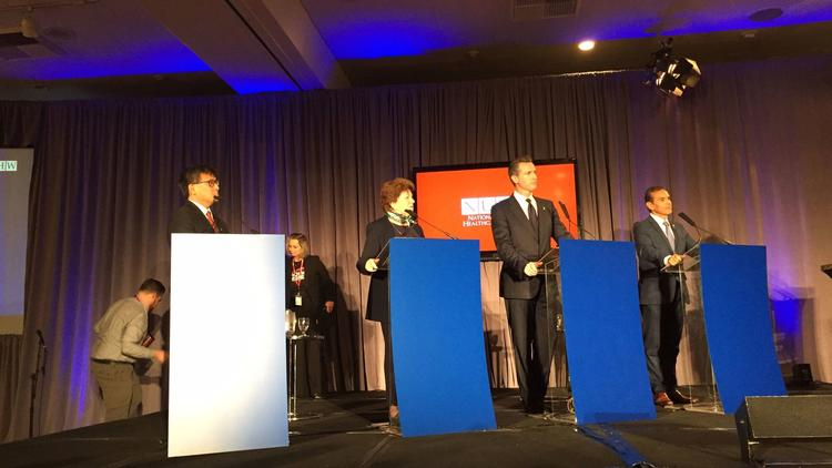 The top four Democrats running for California governor took part in a candidate forum Sunday at the Sheraton Park Hotel in Anaheim. (Phil Willon / Los Angeles Times)