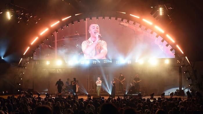 Sam Smith sings at the Hollywood Bowl for the We Can Survive 2017 concert on Tuesday. (Kevin Winter / Getty Images)