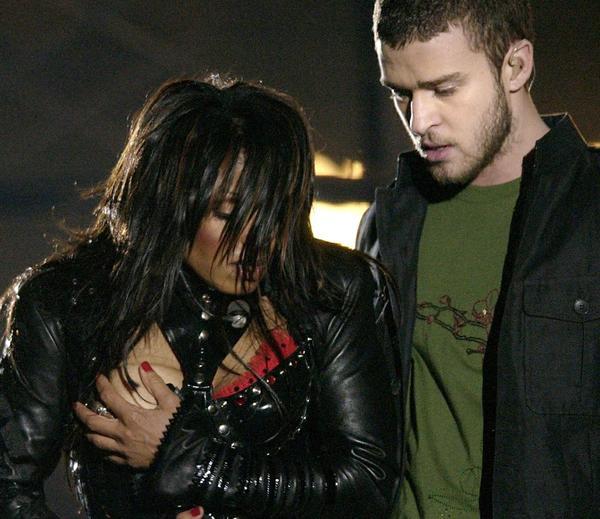 Janet Jackson and Justin Timberlake at 2004's infamous Super Bowl halftime performance. (David Phillip / Associated Press)