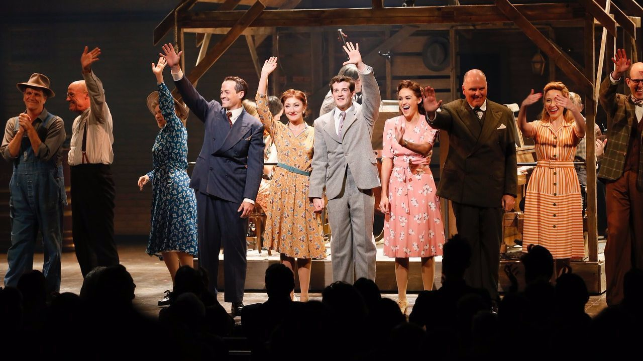 "The cast takes its bow after the opening-night performance of ""Bright Star."""