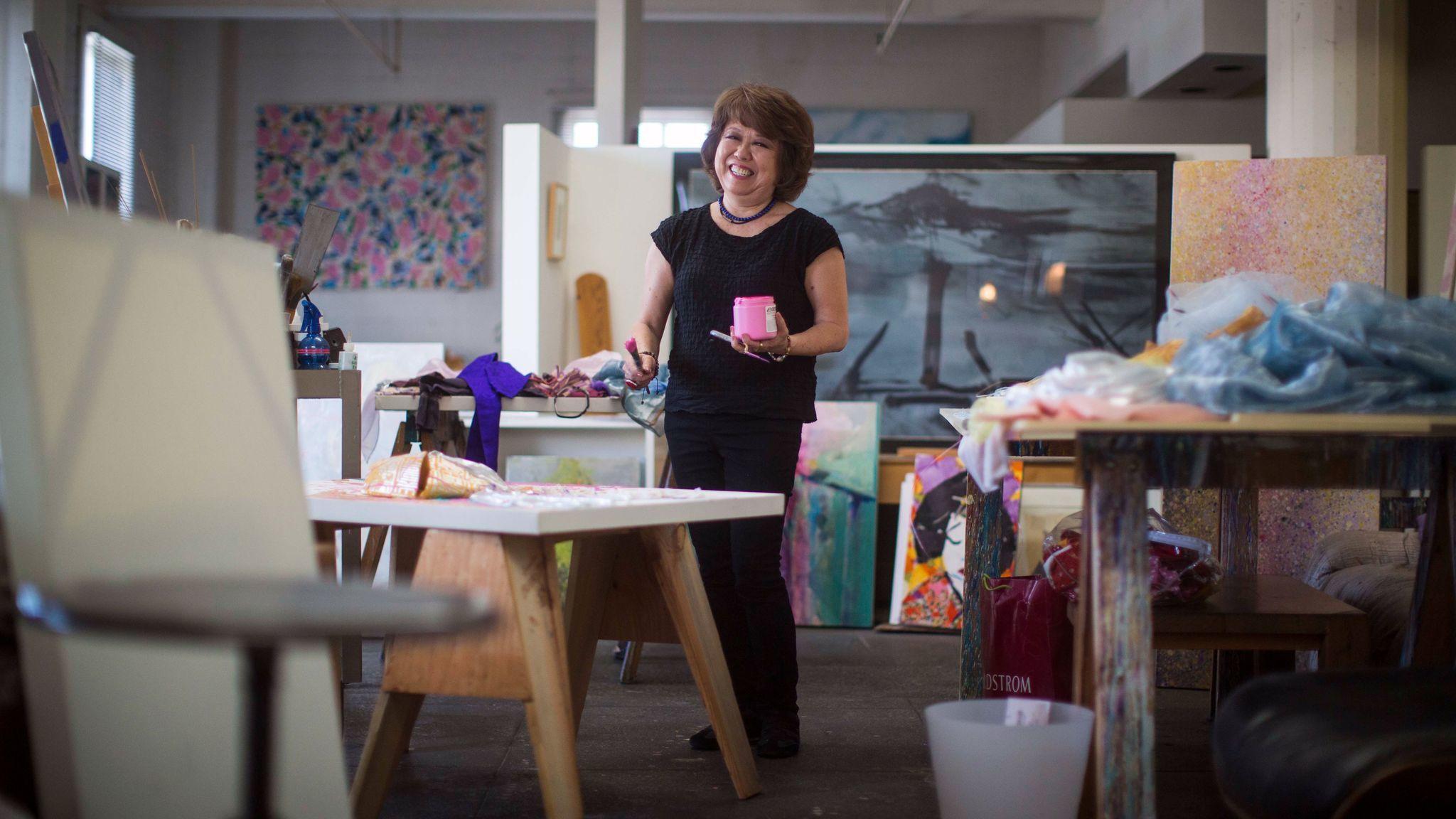 Painter Nancy Uyemura in her studio at 800 Traction in 2014.