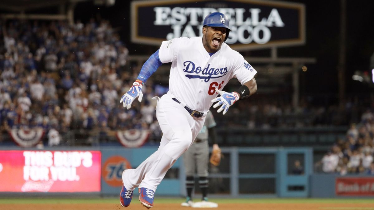 Yasiel Puig brings a reality show-style swagger to the Dodgers' postseason - LA Times
