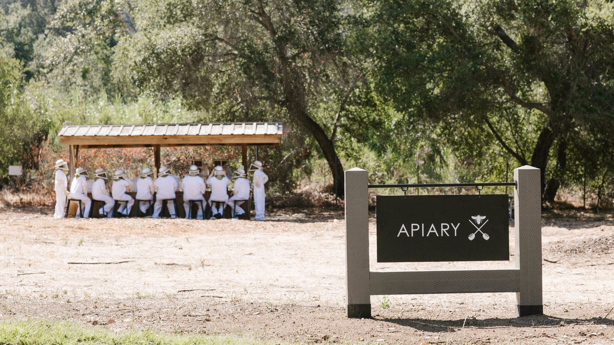 Guests of the Ojai Valley Inn & Spa don beekeeper suits at the resort's apiary. For $150, guests learn about bees and taste the honey they make.