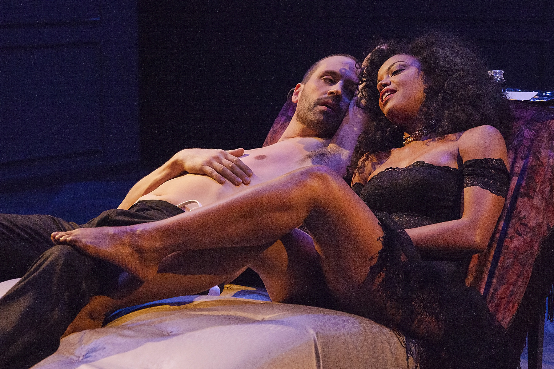 "Scott Ferrara and Nadège August in ""Les Liaisons Dangereuses"" at Antaeus."