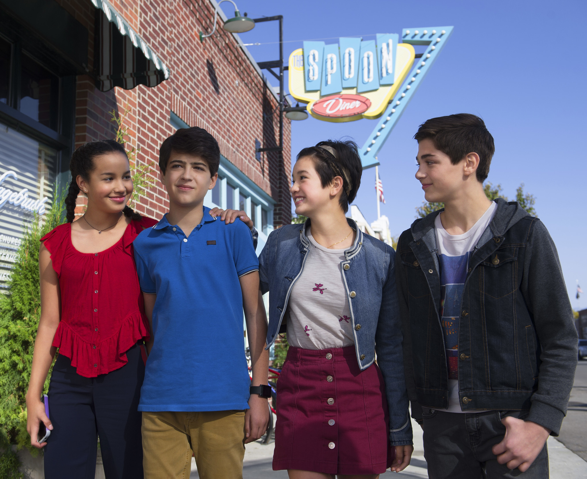 "Sofia Wylie, from left, Joshua Rush, Peyton Elizabeth Lee and Asher Angel star in the coming-of-age series ""Andi Mack."" (Fred Hayes / Disney Channel)"