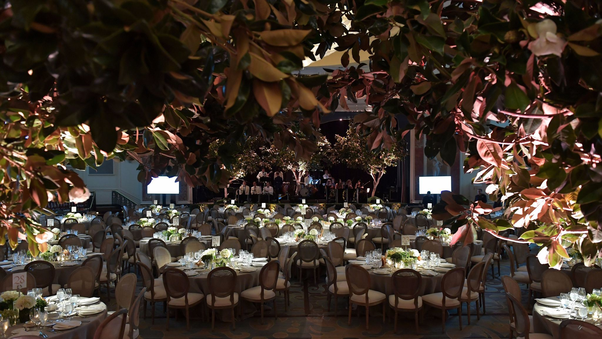 A look at the setting for the Whole Child International's inaugural gala hosted by the Earl and Countess Spencer at the Beverly Wilshire Hotel.