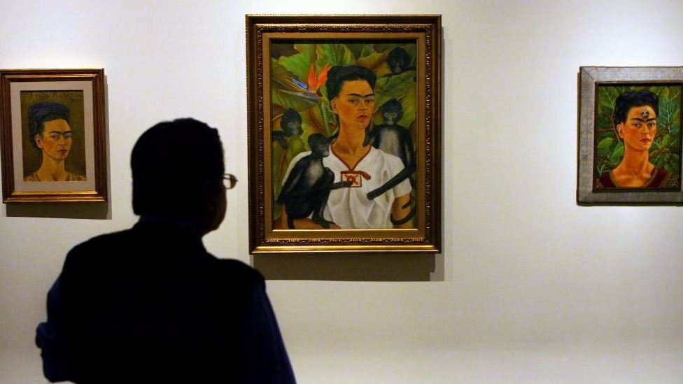 Three self portraits by Mexican Artist Frida Kahlo, after whom Vicente Del Rio named his restaurants.