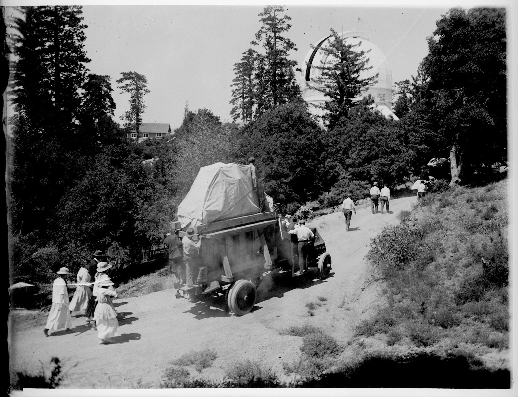 The 100-inch mirror en route to Mt. Wilson Observatory on July 1, 1917.