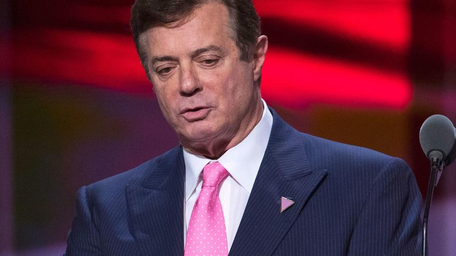 Then-Trump campaign manager Paul Manafort onstage at the Republican National Convention in Cleveland in July 2016. — Photograph: Evan Vucci/Associated Press.