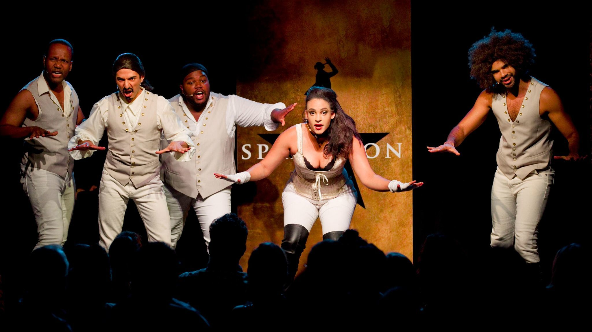 "Chris Anthony Giles, left, Dan Rosales, Juwan Crawley, Nora Schell and Nicholas Edwards in the off-Broadway production of ""Spamilton"" in New York. A different cast will perform at the Kirk Douglas."