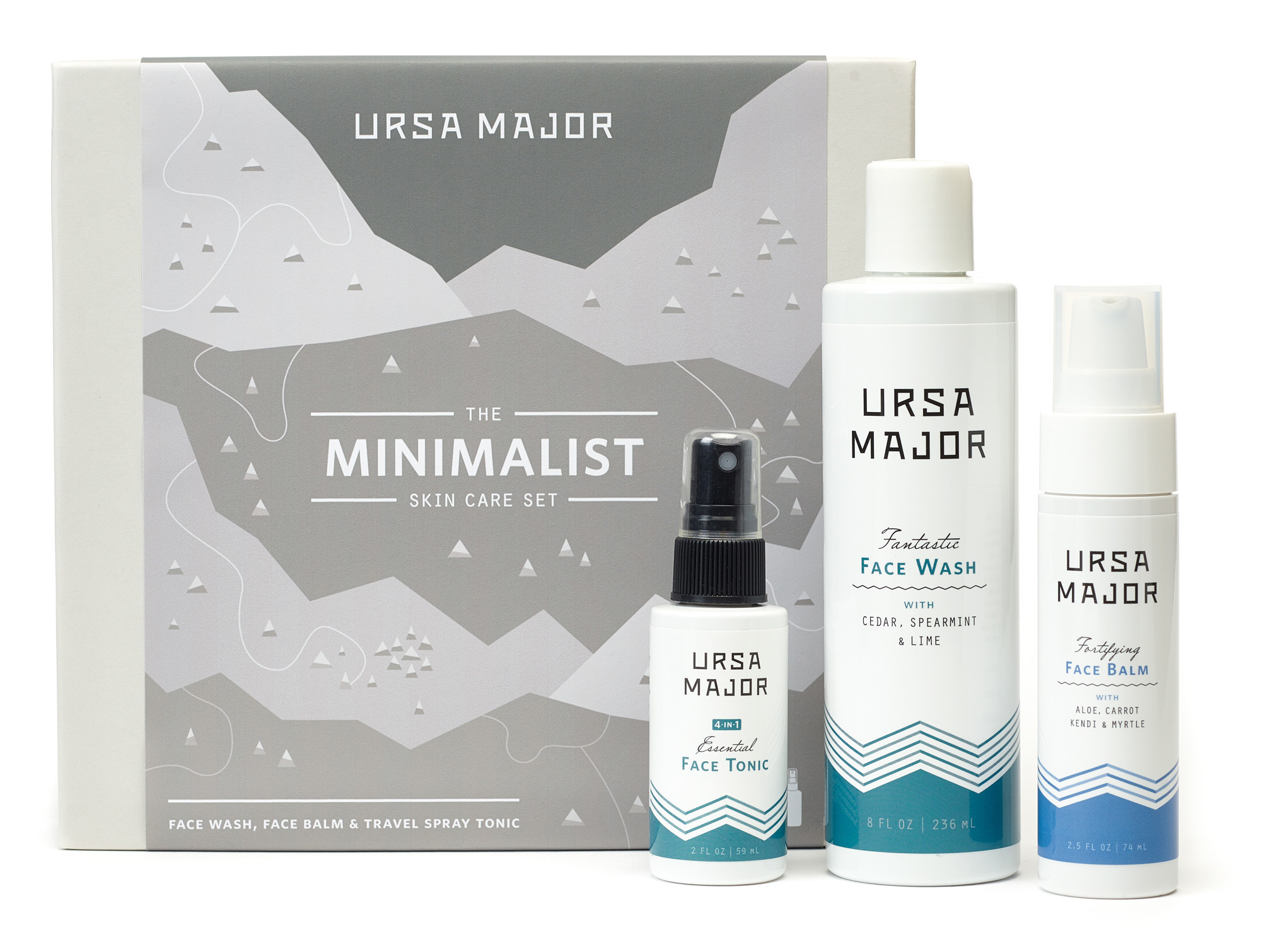 Natural skin care line Ursa Major has packaged a Face Wash, Face Balm, and Essential Face Tonic in a