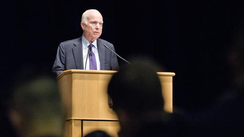 Senator John McCain addresses the Brigade of Midshipmen