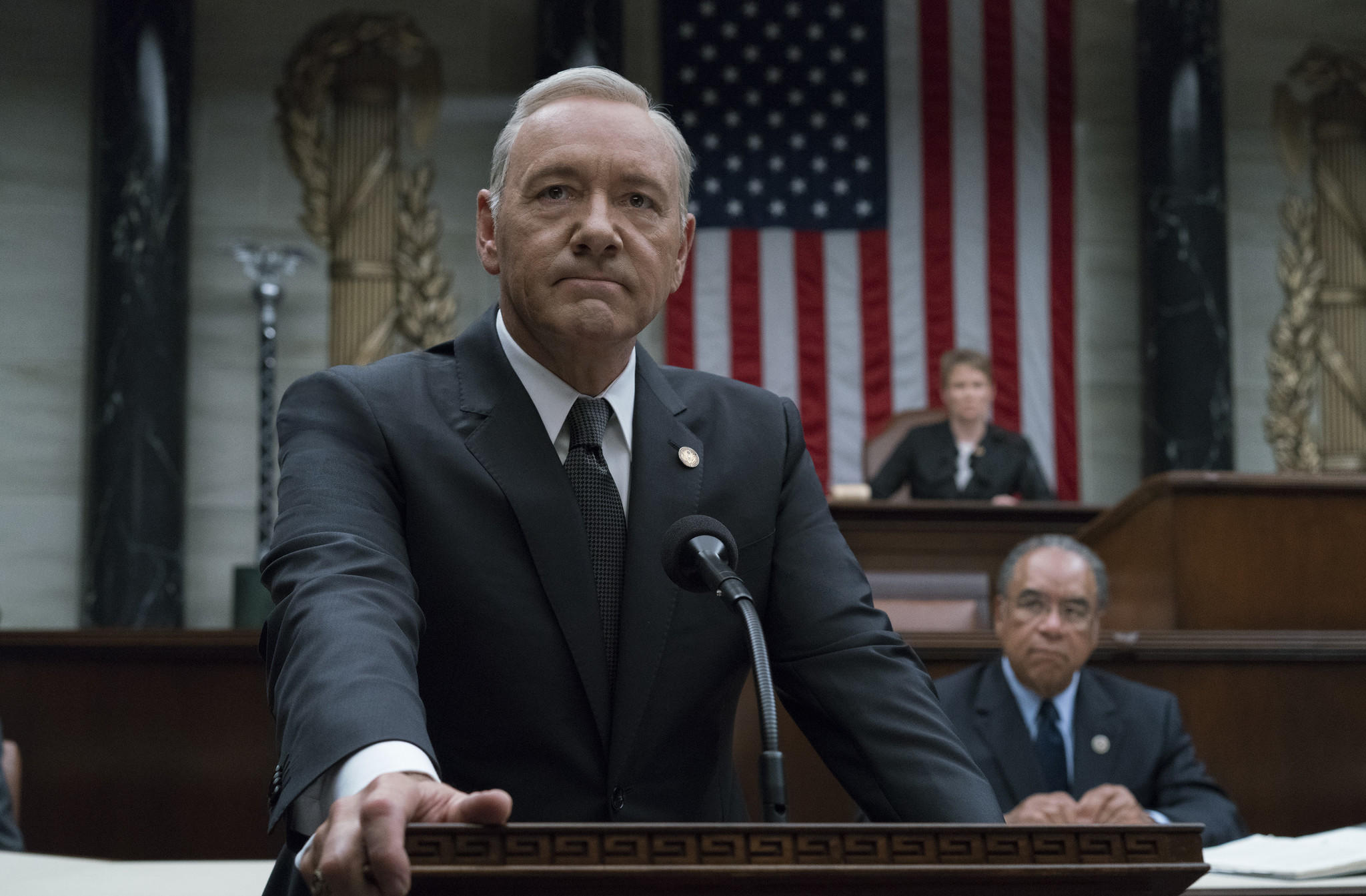 "Kevin Spacey in Season 5 of Netflix's ""House of Cards."" (David Giesbrecht / Netflix)"