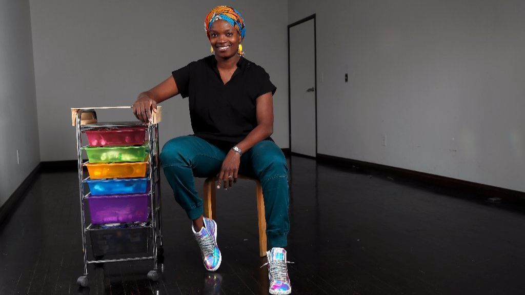 Njideka Akunyili Crosby inside her bare L.A. studio. The artist has shipped off all her works for exhibitions around the country.