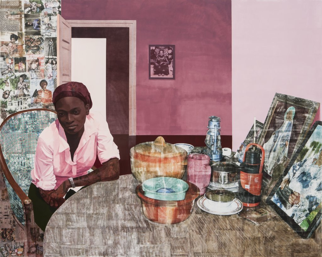 "Njideka Akunyili Crosby's ""Mama, Mummy and Mamma"" (Predecessors #2), 2014. Acrylic, color pencils, charcoal and transfers on paper"
