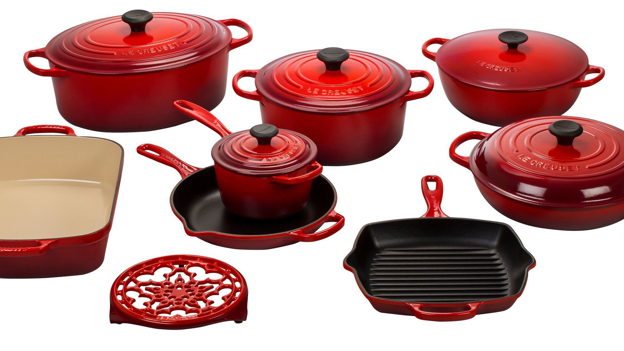 An eight-piece cast iron set from Le Creuset.