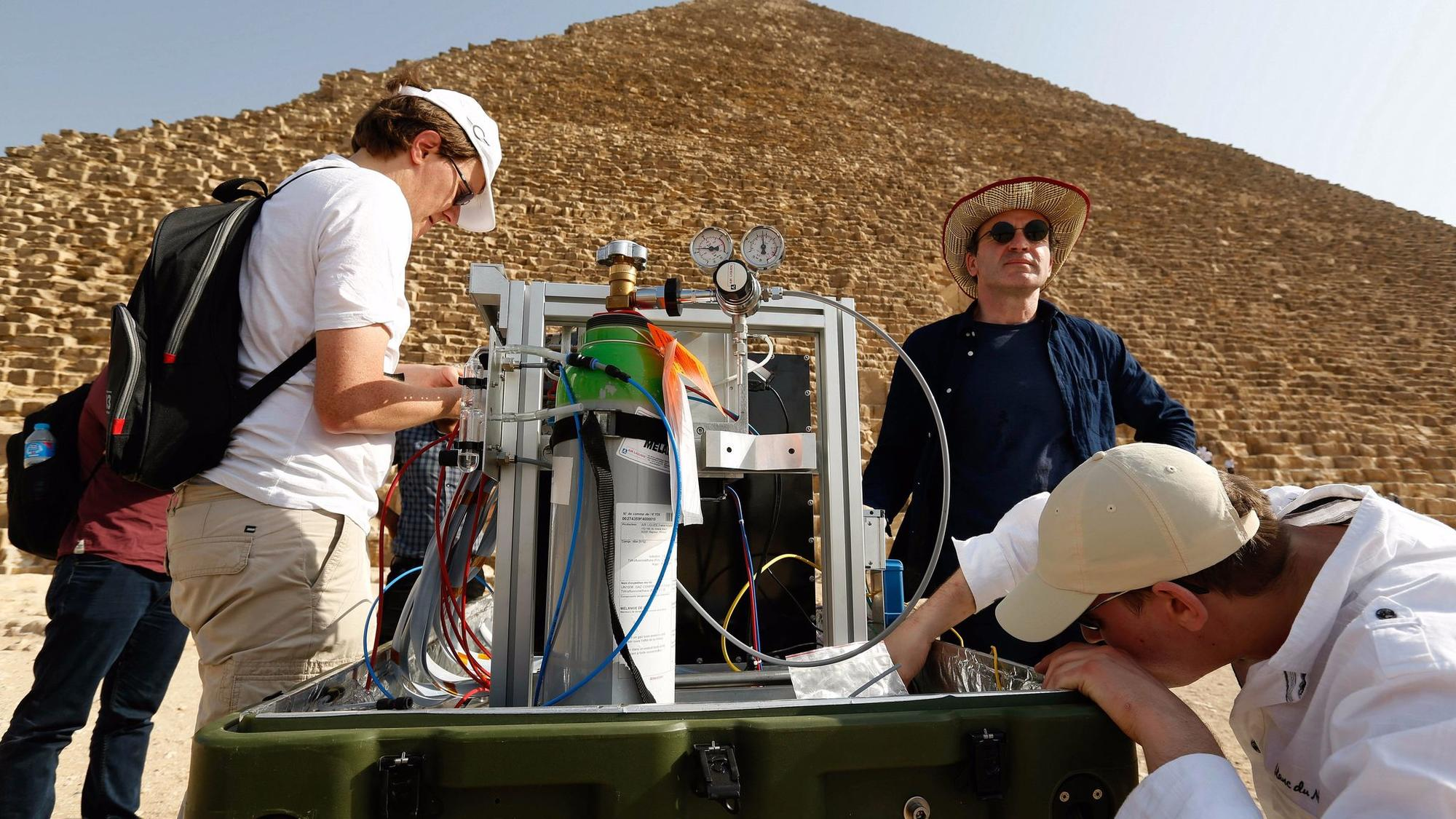 Members of the research team prepare to study the pyramid's interior.
