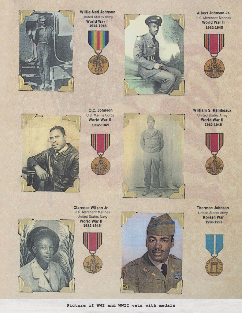 A page from Earnestine Smith's journal depicting family members who were veterans and their medals.