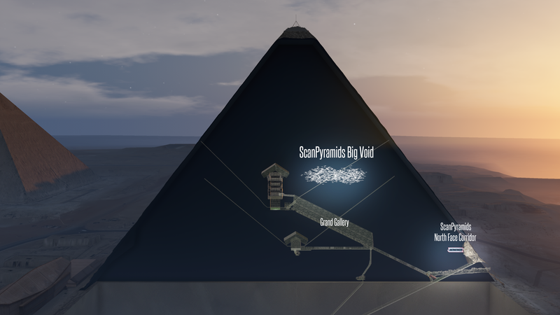 An artist's impression of the mysterious void discovered inside the pyramid.