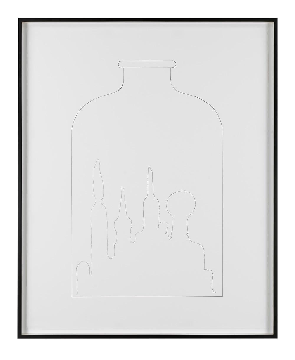 "Mike Kelley, ""No Title (Kandor bottle drawing),"" 2005, pencil."