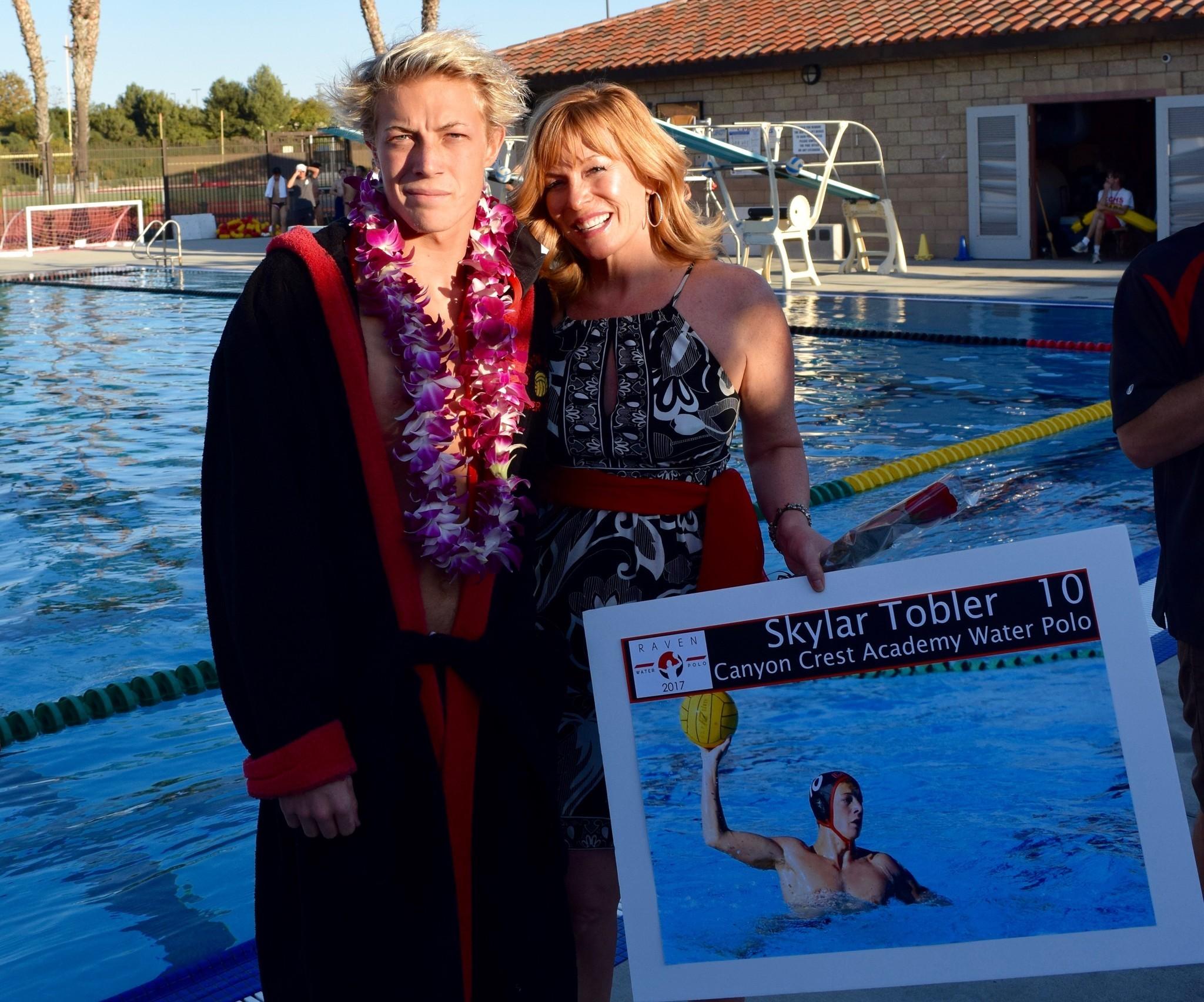Skylar Tobler with his mom Barbara.