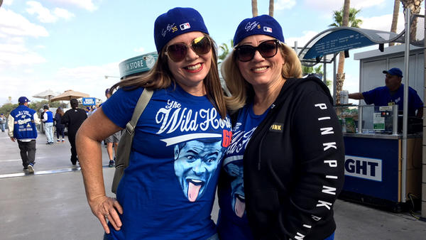 Lulu and Sally Maldonado attended Games 6 and 7 of the World Series. (Hailey Branson-Potts / Los Angeles Times)