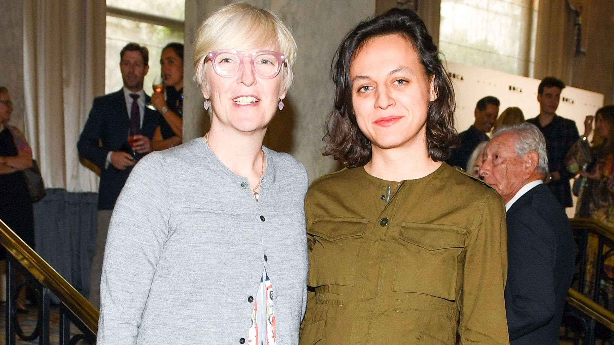 MOCA's chief curator Helen Molesworth and luncheon honoree Tala Madani at MOCA's Distinguished Women in the Arts luncheon.