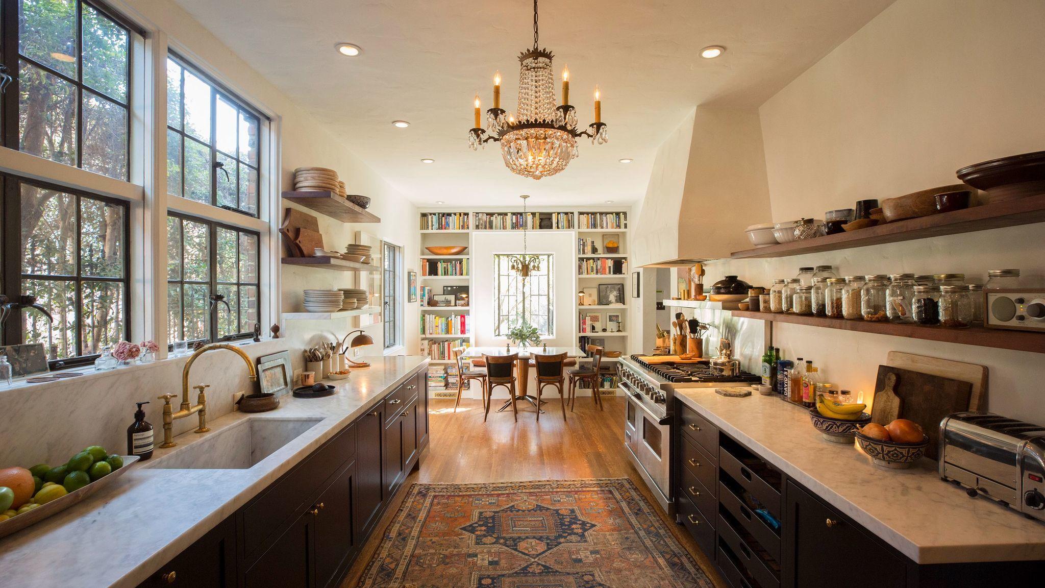 The kitchen in actor Walton Goggins' Los Angeles house.