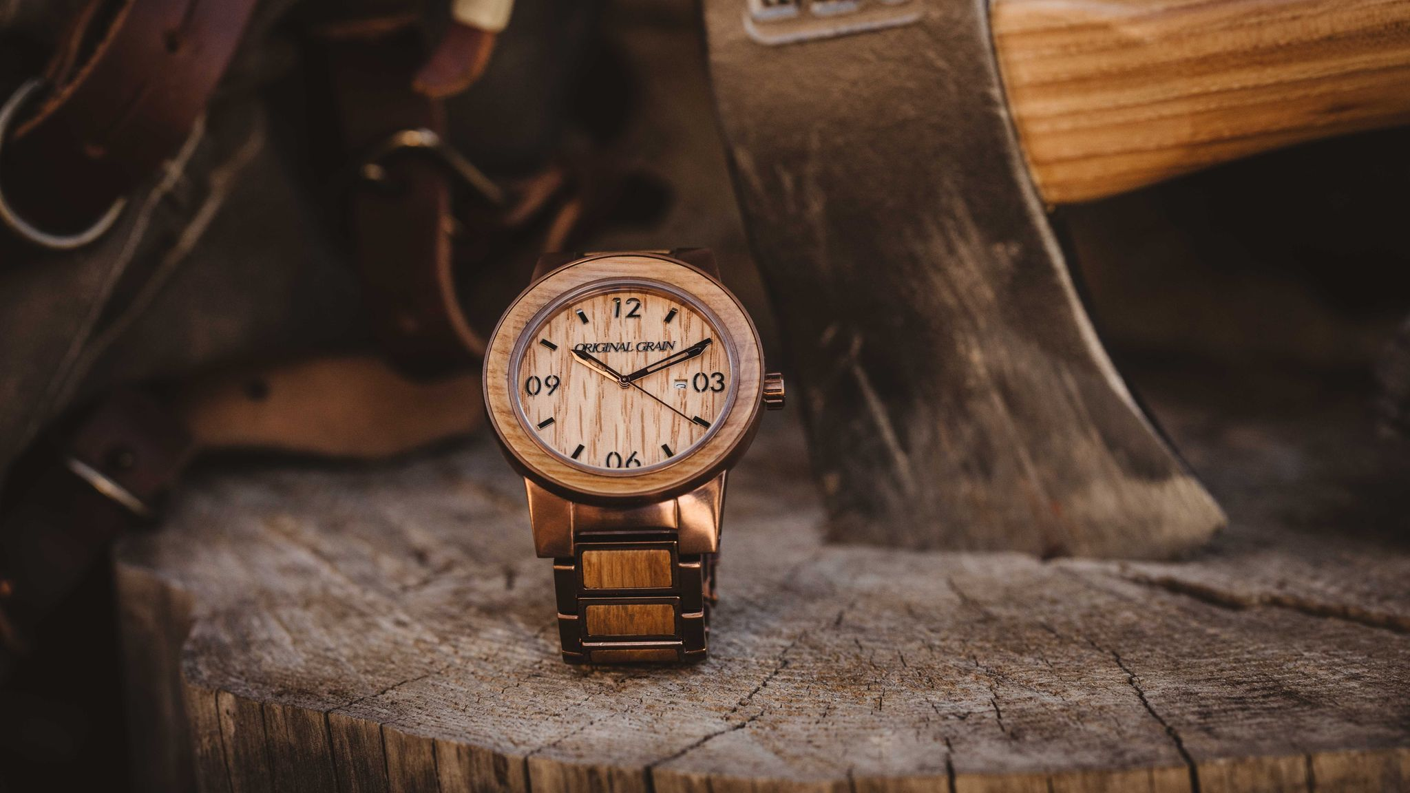 Watches from Original Grain, made from repurposed bourbon barrels.