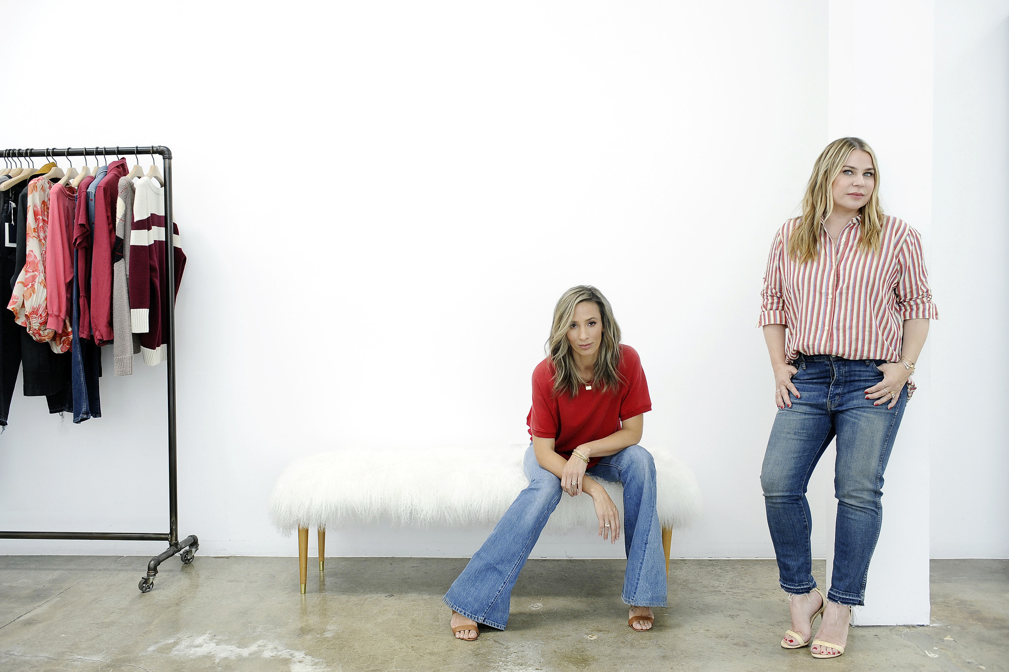Stylists-turned-designers Meritt Elliott, left, and Emily Current, founders of L.A.-based women's brand the Great, at their showroom and studio in Beverly Grove.