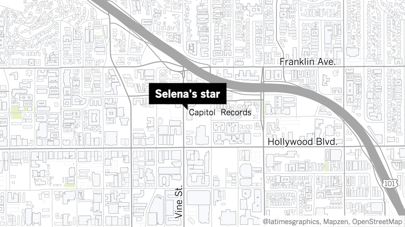 Selena's Hollywood Walk of Fame star is located outside the Capitol Records building.