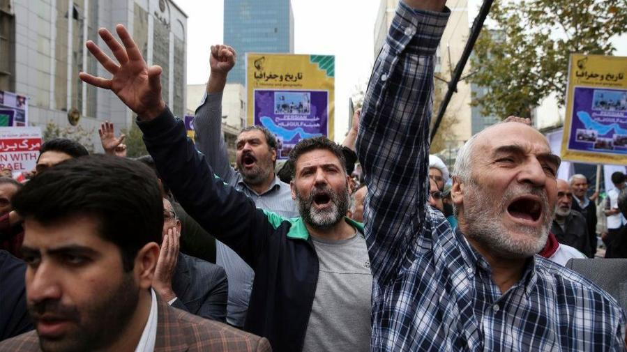 Iranians chant and march during observance of the anniversary of the 1979 takeover of the U.S. Embassy in Tehran. — Vahid Salemi/Associated Press.